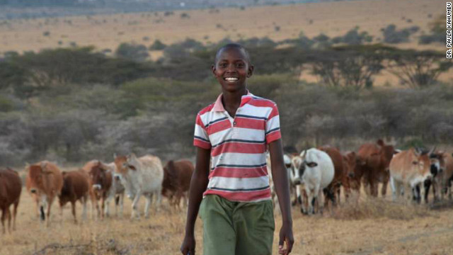 Richard Turere, 13, is from Kitengela, on the edge of the Nairobi National Park, in Kenya. He started herding his family's cattle when he was just nine.